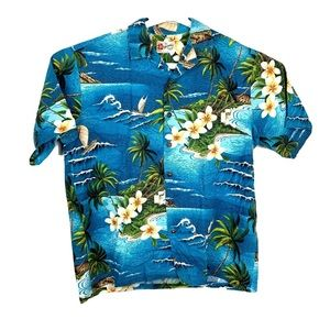 Hilo Hattie Large Hawaiian Mens Button Shirt Blue